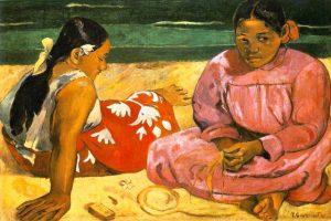 Gauguin-due-donne-tahitiane-sulla-spiaggia